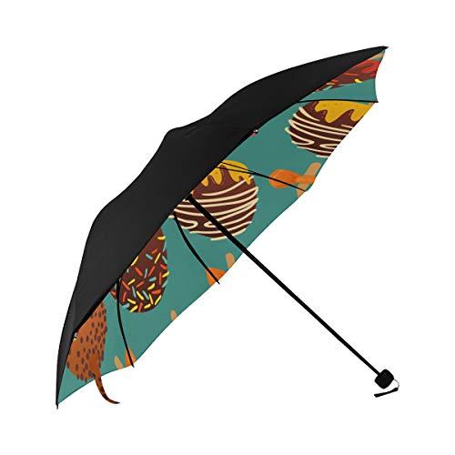 Round Lollipop Sweet Snack Color Compact Travel Umbrella Sun Parasol Anti Uv Foldable Umbrellas(underside Printing) As Best Present For Women Sun Uv Protection ()