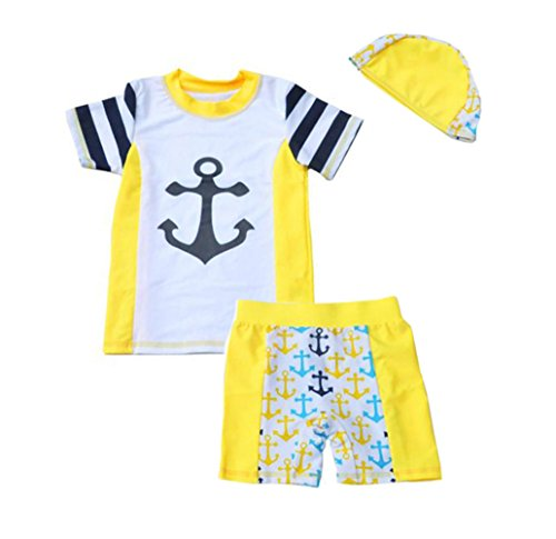 Little Boys Kids Rash Guards Swimsuit With Hat 3pcs UV Sun Protection Swimwear Bathing Suit Yellow - X Rated Swimsuits