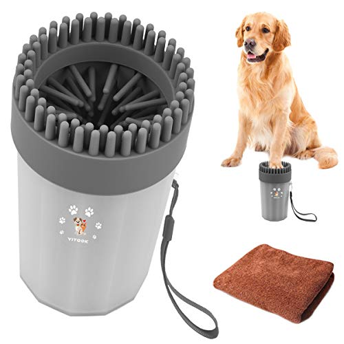 YITOOK Dog Paw Cleaner, Portable Dog Feet Washer with Towel,Upgrade 2 in1 Pet Paw Cleaner Plus Grooming Dog Plunger Feet Washer Cup for Muddy Paws (Grey)