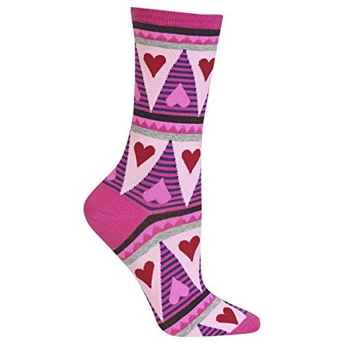 UPC 191751014863, Hot Sox Womens Dress Crew Sock, Striped Heart Geo Htpnk - Size: 9-11