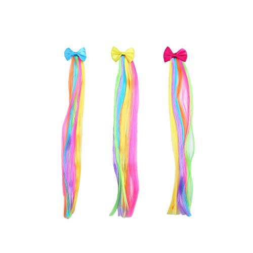 Bevan 3 pieces Bow Hair Clips With Rainbow Wigs Barrettes For Teen Girls Kids Toddlers Party or Celebrations Hair Decoration Accessories,Blue,Yellow,Fuchsia,Mixed 3 Colors (Decoration Girl Hair)