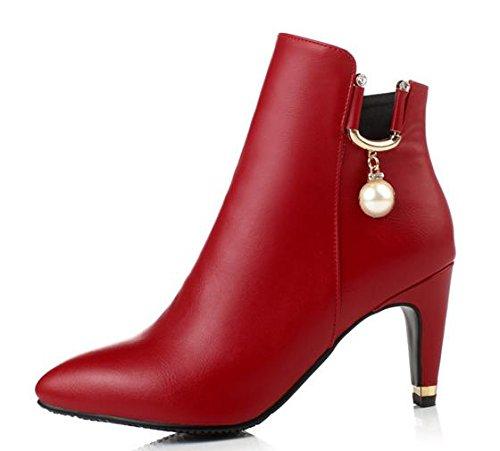 Laruise Women's Leather Martin Boot Red VU2g41cK9