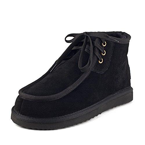 Shenduo Herren Schlupfstiefel Kurz Winterstiefel Leder Winter Boots DAD021 Schwarz