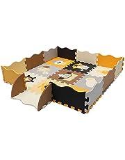 Puzzel Puzzel Mat voor baby's en kinderen, 25 schuimplaten met randen | Kindertapijt puzzel met cijfers en letters | koudebescherming | afwasbaar |