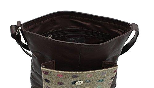 Leather 40 Mala Cruzados Negro Bolso 730 Brown Spot Mujer Negro para dP8OPw