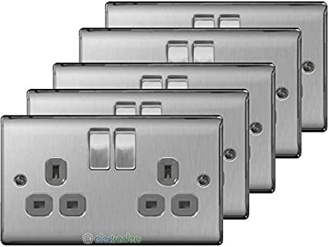 5x BG Nexus Double Socket Brushed Steel Chrome Grey Insert NBS22G 2 Gang Socket