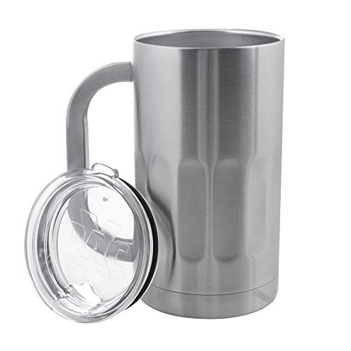 Stainless Steel Beer Mug with Lids - 20 Ounce Double Walled Vacuum Insulated Beer Mug by Maxam - Shatterproof and Spill Resistant