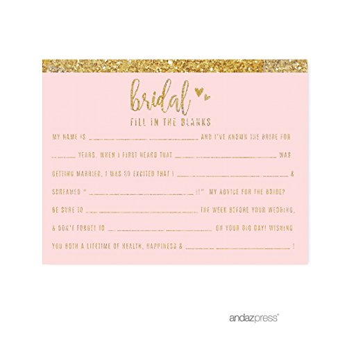 Andaz Press Blush Pink Gold Glitter Print Wedding Collection, Fill in the Blanks Advice for the Bride-to-Be Bridal Shower Game Cards, 20-Pack - Blush Wedding Shower Decor