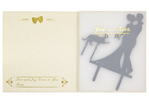 LOVENJOY with Gift Box Kissing Couple Cat Silhouette Wedding Engagement Cake Topper Black (6-inch) (2)