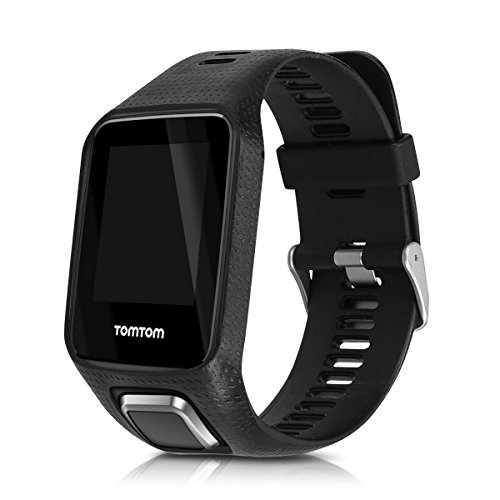 kwmobile Sport Spare Bracelet for TomTom Adventurer/Runner 3/Spark 3/Golfer 2 in black Inner dimensions: approx. 15,5-21,5 cm - Silicone bracelet with clock clasp without tracker by kwmobile