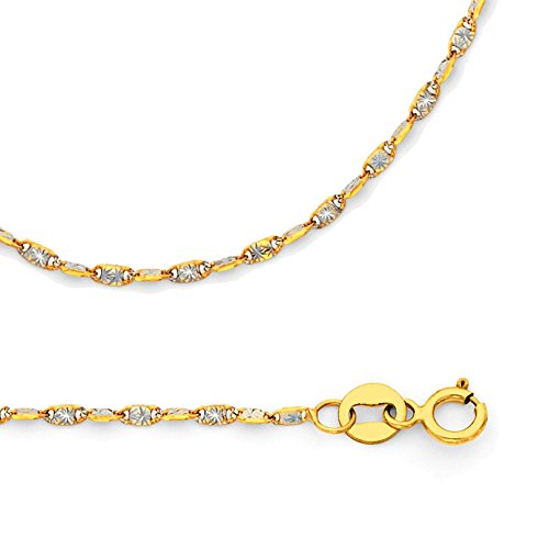 Valentino Necklace Solid 14k Yellow White Gold Chain Star Snail Twisted Diamond Cut, 1.4 mm - 22 inch 14k Yellow Gold Snail Chain