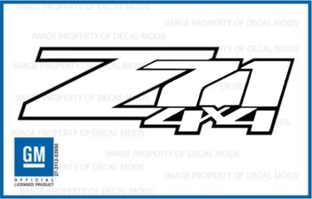 Chevy Silverado Z71 4x4 White / Whiteout decals stickers - FWO (2007-2013) bed side 1500 2500 HD (set of 2)