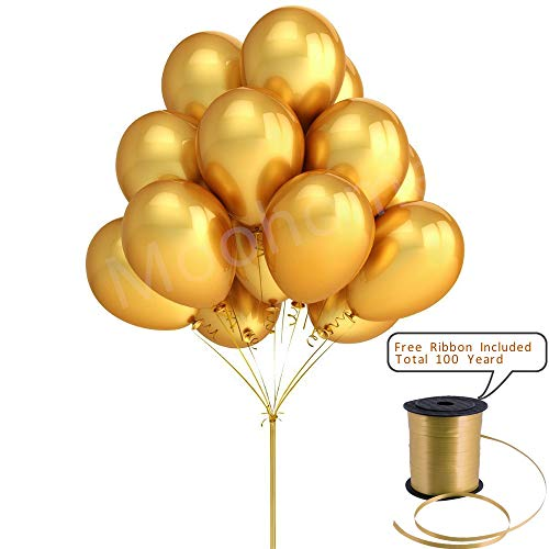 "Moohome 12 inch Gold Balloons, 100pcs/pack 12"" Metallic Gold Latex Balloons with Ribbons for Birthday, Wedding, Bridal Shower, Bachelorette, Christmas, Graduation, Party Decoration (Gold)"