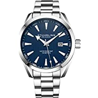 Stuhrling Original Blue Watch for Men Analog Watch Dial with Date - Stainless Steel Silver Bracelet, 3953 Mens Watch Collection