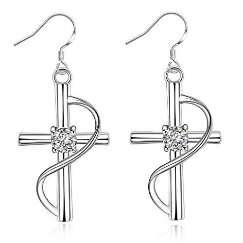 fonk: silver plated earing Inlaid Cross drop brincos de festa joias HBE238
