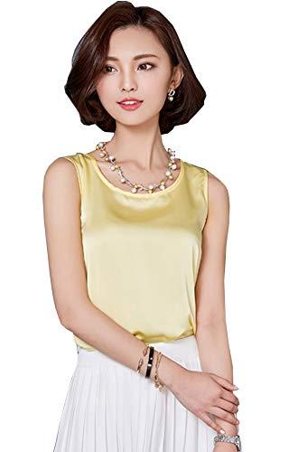 ezShe Women's Round Neck Sleeveless Blouse Satin Shell Tops Yellow L