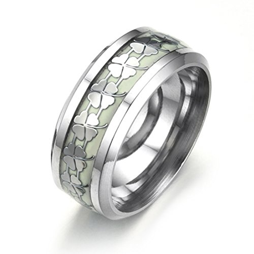 Clover Band Ring - Classic Stainless Steel Rings Luminous Ring for Men Size 10 Wedding Band Four Leaf Clover