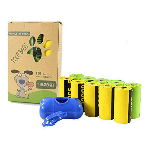 Kumoya Dog Poop Bags Biodegradable 150 Bags Made from Corn Starch Dog Waste Bags with Dispenser -Extra Large, Extra Thick, Leak Proof Dog Poo Bags ()
