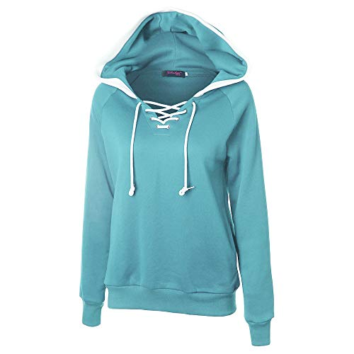 Hoodie for Women,JFLYOU Cross String Sexy V Neck Solid Color Long Sleeve Hooded Sweater Casual Blouse for Teen Girl(Sky Blue,L)