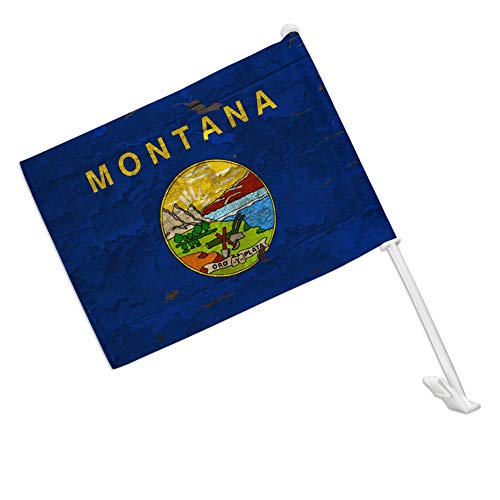 GRAPHICS & MORE Rustic Montana State Flag Distressed USA Car Truck Flag with Window Clip On Pole Holder - Right Passenger Side