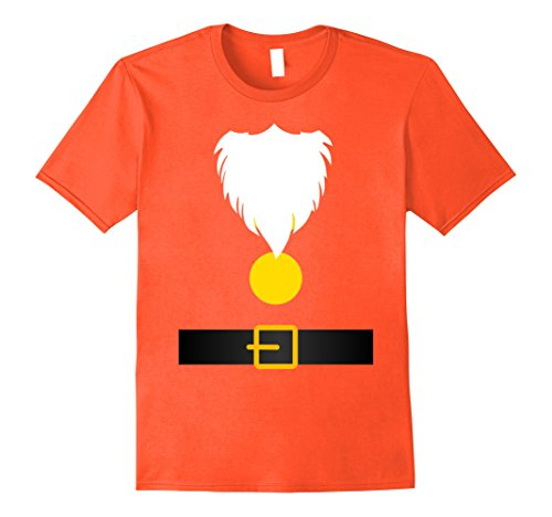 Snow White Costume Shirt (Mens Funny Dwarf Costume T-Shirt for Halloween or Christmas Small Orange)