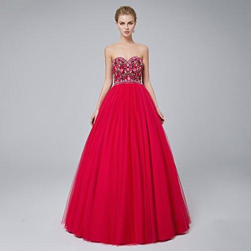 Beautyfudre Robes De Bal Perles De Broderie Robe De Bal Chérie Femmes Rose