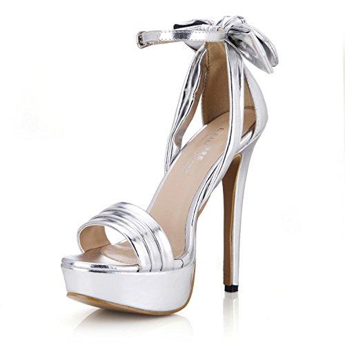 Best 4U® Sandalias de verano para mujer Bombas básicas de cuero de PU de primera calidad Bow One Buckle Peep toe 14CM High Heels Plataformas de 3CM Zapatillas de goma de oro plateado , Silver , EU38