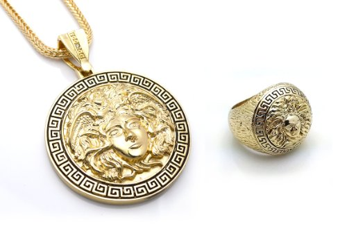 Chris Brown's Hip-Hop Bling Medusa Head Gold Tone 2 Chainz Pendant with Ring Set Size ()