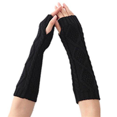 Women Lady Girl Long Soft Fingerless Knit Thumb Hole Gloves Mittens (1-Black)