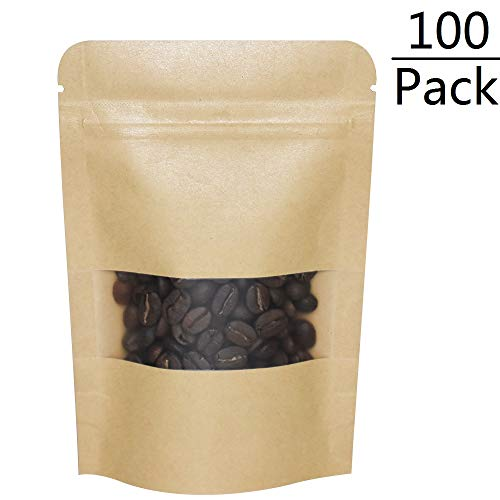 100 Pack Kraft Stand Up Bags 4x6 inch, Zip Lock Pouch with Tear Notch and Matte Window, Heat sealable Food Storage Bag (4x6 inch)