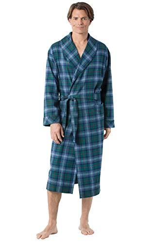 PajamaGram Mens Robe Cotton Flannel - Bath Robe Mens, Plaid, Green/Blue, LG