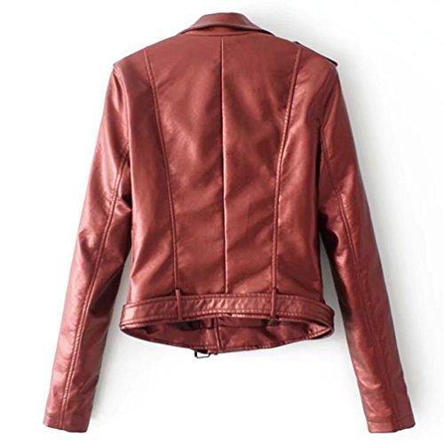 Vino Imitacion Cazadoras Moto Biker Cazadoras Rojo con Cuero Mujer Corta Abrigos Cremallera Mujeres Chaqueta para Jitong qX6gXf