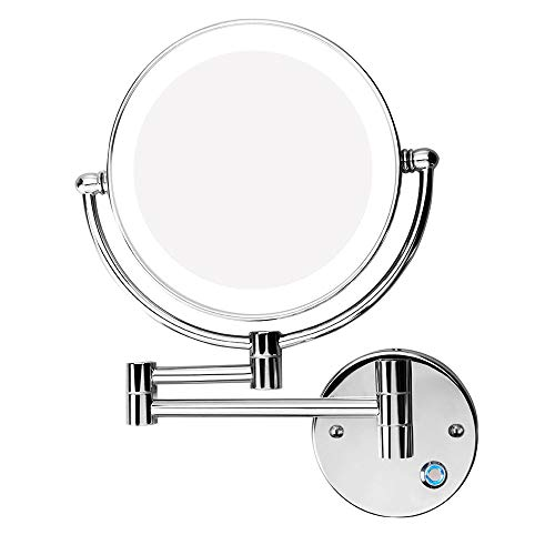 Reitu Makeup Mirror Wall Mount LED Double Sided Swivel Wall Mount Vanity Mirror 10x Magnification, Chromium,Shaving in Bedroom or Bathroom 8.5 Inch