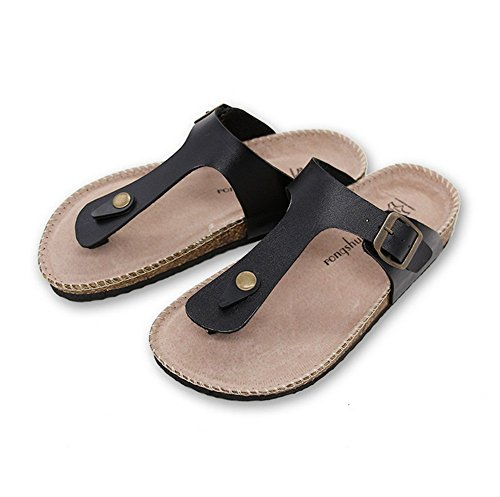 Unisex Plus Size Flip Flops Summer European Popular Cork Thong Sandals Anti Slip Beach Sandals Cork Slippers Women Shoes Leather Buckles White Slippers (9 US/EU 40, Gizeh Thong (Gizeh White Leather)