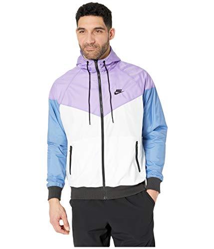 (Nike Mens Windrunner Hooded Track Jacket White/Space Purple/Indigo Storm/Black AR2191-101 Size 2X-Large)