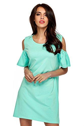 Mikos Damen Kleid Sommer Kleid Schulterfreies Longshirt Tuniken Damen Kleider Sommer Kurz (661) Mint