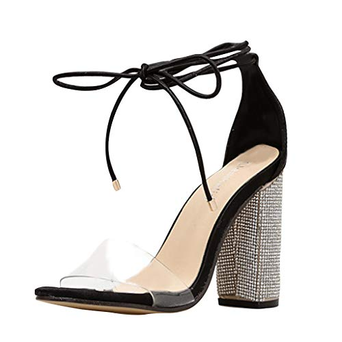 2019 EDC Women's Summer Rhinestone Square High Heels Strappy Sandals Water Drill Thick Heel Transparent Shoes (Black, 6)