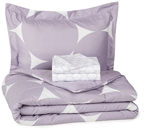 AmazonBasics 5-Piece Bed-In-A-Bag - Twin/Twin Extra-Long, Purple Mod Dot