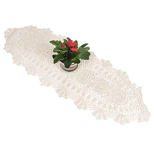 yazi Crochet Floral Table Runner Beige Handmade Rustic Floral Pattern Table Doilies (Crocheted Lace Doily)
