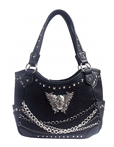 Skull With Wings (Premium Rhinestone Metal Skull with Wings and Chains Concealed Carry Women's Tote Bag in 3 Colors (Black))