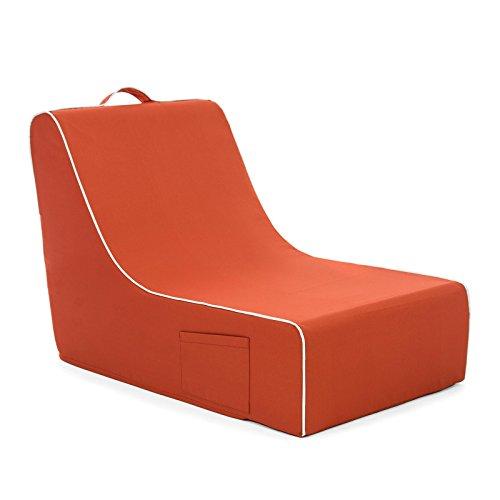 PopLounge Expandable Foam Furniture Coast Lounger, Burnt Ochre Red, 23