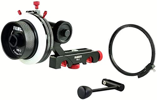 FILMCITY HS-2 Professional Hi-Grade Follow Focus with A/B Hard Stops, Flexible Gear Belt & Speed Crank | for 15mm Rod Support & DSLR Video Camera Stabilizer Shoulder Rig (HS-2) by FILMCITY