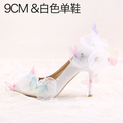 Waterproof A Butterfly 2 White Sandals Prom Heeled Shoes Bride Heels Wedding 5 Rhinestone Evening 9Cm Pointed Flower 5 High Higher VIVIOO Wristband Female gFZTwqKF