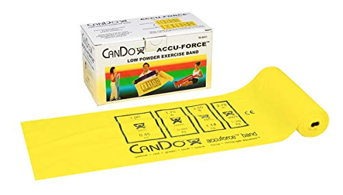FEI 10-5911 Can-Do AccuForce Exercise Band Roll with Dispenser Box, X-Light, 6 yd. Length, Yellow ()