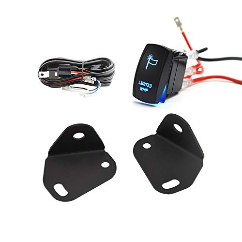 Dasen Adjustable Rear Pillar Flag Antenna Mounting Brackets w/Wiring Kit For LED Whip Light Fits Can Am Maverick X3 -