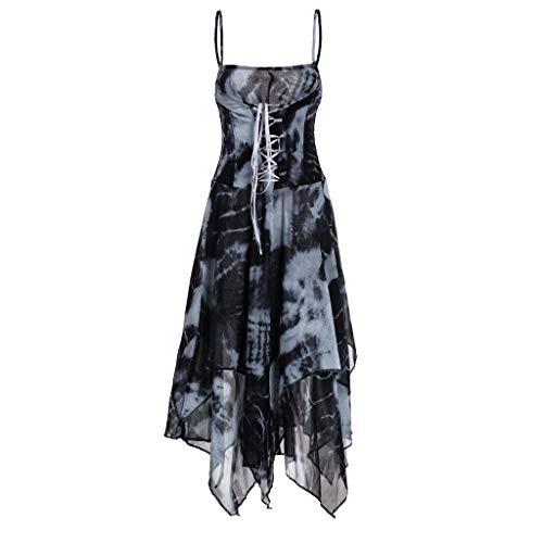 (BingYELH Dresses Women Corset Bodice Handkerchief Hem Dress Tie Dye Spaghetti Strap Lace up Maxi Dress Sundress)