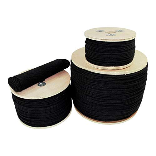 Cotton Tie Line (1/8 inch) Unglazed - SGT KNOTS - Trick Line - Multipurpose Utility Line - Polyester Core - Theatrical Projects, Decor, Cable Management, Commercial uses (300 ft - Black) by SGT KNOTS