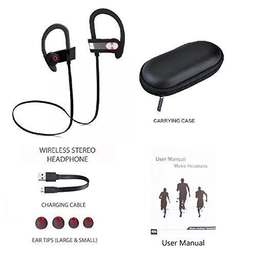 Wireless Sport Bluetooth Headset, Lightweight, Sweatproof, EarHook, for Running, Talking & Listening for HTC Desire 601 dual sim PLUS GIFT [Protective Hard Carry Case&Screen Cleaner] - Grey