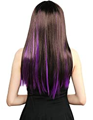 Amazon purple hair extensions extensions wigs neitsi 10pcs 18inch colored highlight synthetic clip pmusecretfo Choice Image