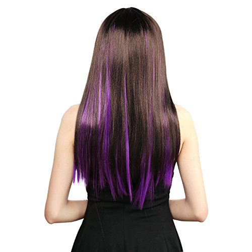 Neitsi 10pcs 18inch Colored Highlight Synthetic Clip on in Hair Extensions #F10 Purple -